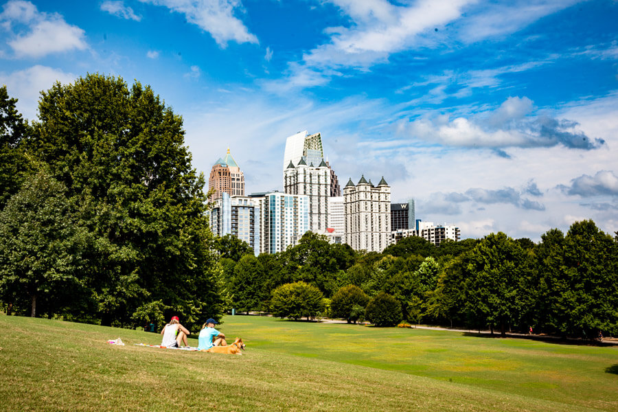 Park with city skyline