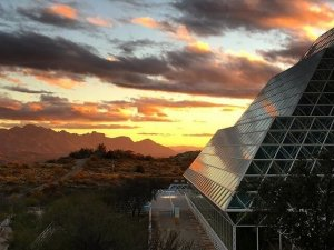 Biosphere 2 at sunset in Southern Arizona