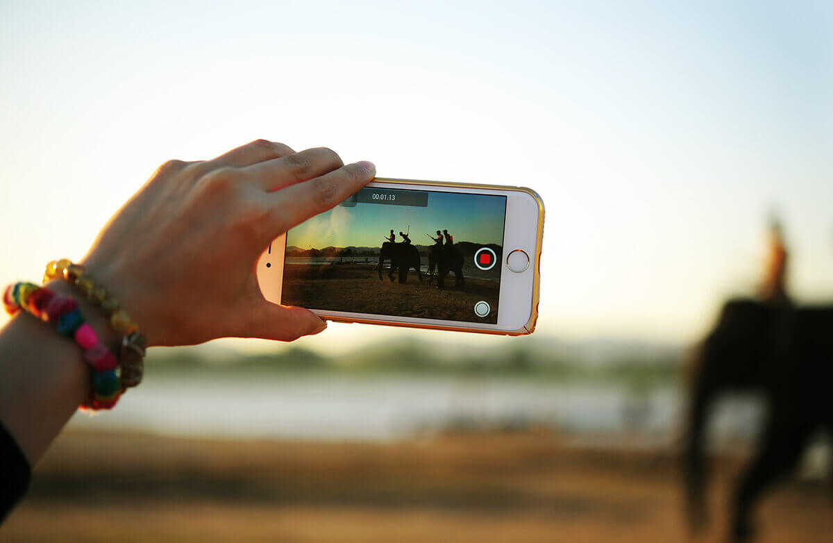 iPhone recording video.